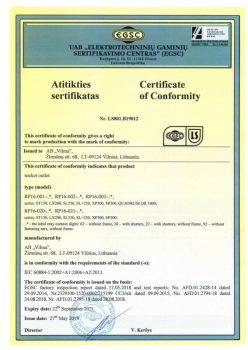 EGSC sertificate No. LS801.B19012