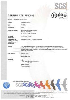 FIMKO sertificate No. FI 40085