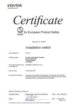 SEMKO sertificate No. 1908537