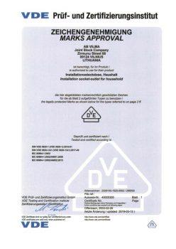 VDE sertificate No. 40005300