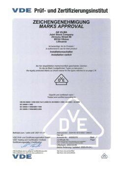 VDE sertificate No. 40005379