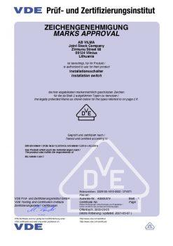 VDE sertificate No 40005379